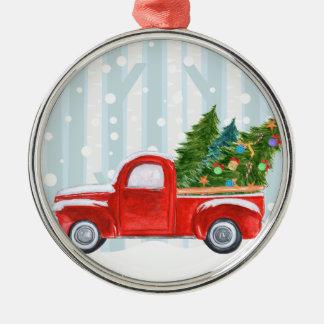Ornement Rond Argenté Camion pick-up rouge de Noël sur une route de
