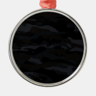 Ornement Rond Argenté Camo noir