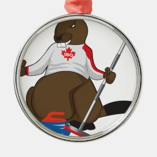 Ornement Rond Argenté Canalisation de bordage de castor du Canada 150 en