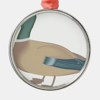 Ornement Rond Argenté canard #4