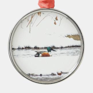 Ornement Rond Argenté Canard d'hiver