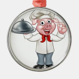 Ornement Rond Argenté Caractère de porc de chef de bande dessinée