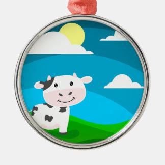 Ornement Rond Argenté Caractère de vache