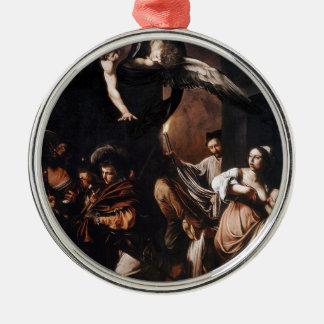 Ornement Rond Argenté Caravaggio - les sept travaux de la peinture de