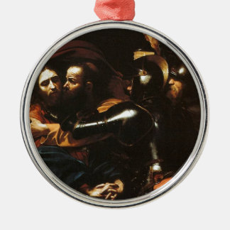 Ornement Rond Argenté Caravaggio - prise du Christ - illustration
