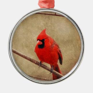 Ornement Rond Argenté Cardinal
