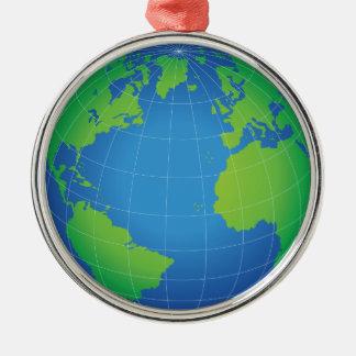 Ornement Rond Argenté Carte de globe du monde