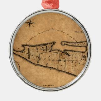 Ornement Rond Argenté Carte de Nantucket 1782