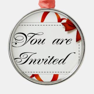 Ornement Rond Argenté Carte d'invitation >> vous êtes invités