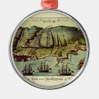 Ornement Rond Argenté Carte du Gibraltar 1765