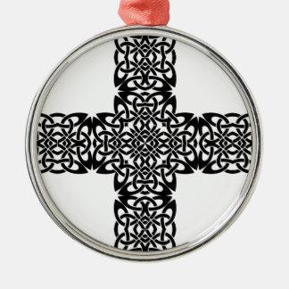 Ornement Rond Argenté Celtic croisé du Christ