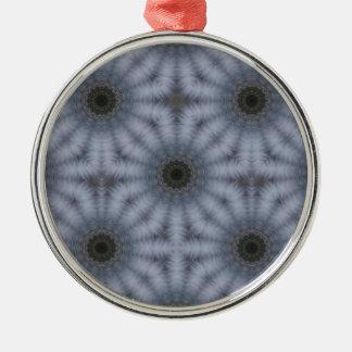 Ornement Rond Argenté Cercles floraux de kaléidoscope, gris