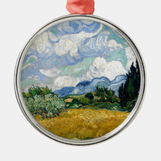 Ornement Rond Argenté Champ de blé de Vincent van Gogh avec l'art de