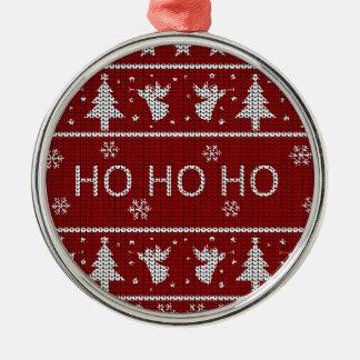 Ornement Rond Argenté Chandail laid de Noël