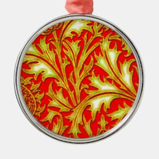 Ornement Rond Argenté Chardon rouge d'or
