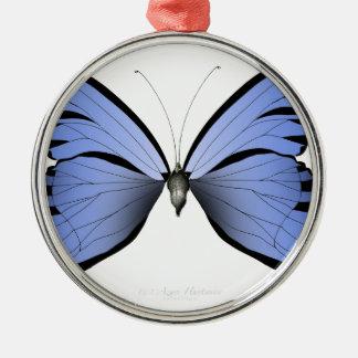 Ornement Rond Argenté Chasseur bleu d'azur du papillon 2