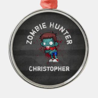 Ornement Rond Argenté Chasseur de zombi avec le cool déplaisant