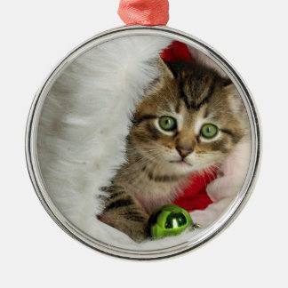 Ornement Rond Argenté Chat de Noël - chat de chaton - chats mignons