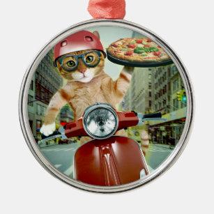 Ornement Rond Argenté chat de pizza - chat - la livraison de pizza