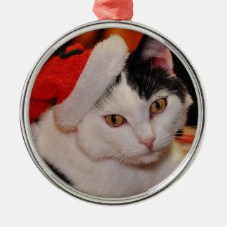 Ornement Rond Argenté Chat du père noël - Joyeux Noël - choyez le chat