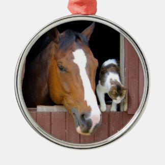 Ornement Rond Argenté Chat et cheval - ranch de cheval - amants de