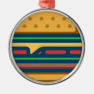 Ornement Rond Argenté Cheeseburger de Charbroiled