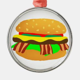 Ornement Rond Argenté Cheeseburger de lard
