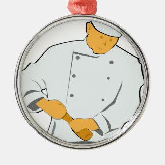 Ornement Rond Argenté Chef