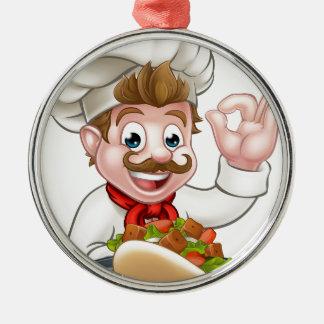 Ornement Rond Argenté Chef de bande dessinée avec le chiche-kebab