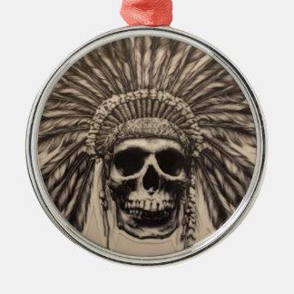 Ornement Rond Argenté Chef de crâne de Natif américain (indien)