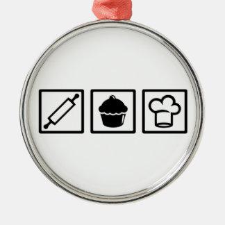 Ornement Rond Argenté Chef de pâtisserie