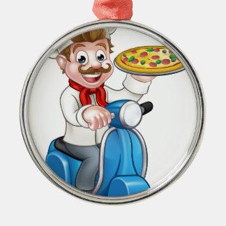 Ornement Rond Argenté Chef de pizza de bande dessinée sur le scooter de