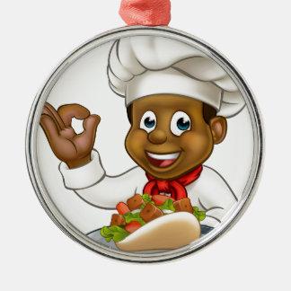 Ornement Rond Argenté Chef noir tenant le chiche-kebab