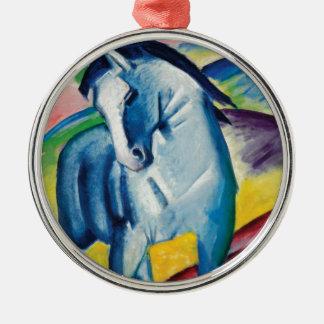 Ornement Rond Argenté Cheval bleu I par Franz Marc