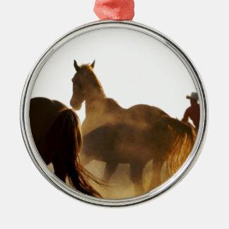 Ornement Rond Argenté cheval de lasso de cowboy