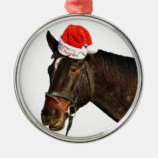 Ornement Rond Argenté Cheval père Noël - cheval de Noël - Joyeux Noël