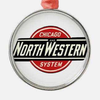 Ornement Rond Argenté Chicago et logo du nord-ouest 1 de chemin de fer