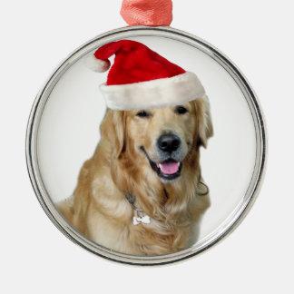 Ornement Rond Argenté Chien-animal familier de Labrador Noël-père Noël