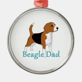 Ornement Rond Argenté Chien blanc bronzage noir d'amants de beagle de