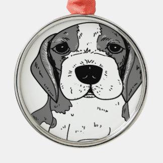 Ornement Rond Argenté Chien de beagle