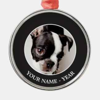 Ornement Rond Argenté Chiot d'Edison Boston Terrier