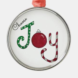 Ornement Rond Argenté Choisissez l'ornement de joie