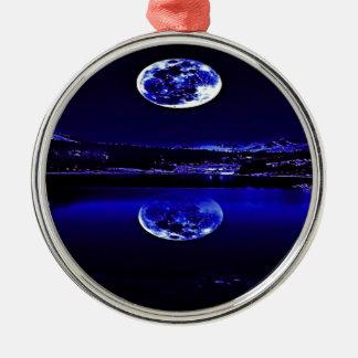 Ornement Rond Argenté Ciel bleu crépusculaire de nuits