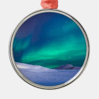 Ornement Rond Argenté Ciel de l'aurore de Noël