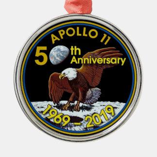 Ornement Rond Argenté Cinquantième anniversaire d'Apollo 11