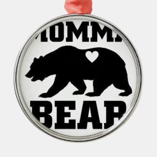 Ornement Rond Argenté Citation de cadeau d'ours de mamans la meilleure