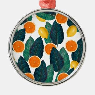 Ornement Rond Argenté Citrons et oranges blancs