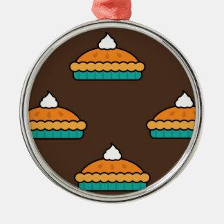 Ornement Rond Argenté Citrouille de dessert de tarte de tarte de