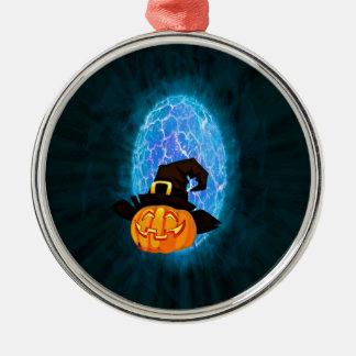 Ornement Rond Argenté Citrouille de Halloween par clair de lune
