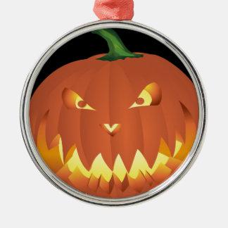 Ornement Rond Argenté Citrouille pour Halloween…
